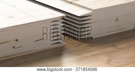Finger Joint Wood Connection Concept. Woodworking Of Zigzag End On Brown Wood Background. 3D Illustr