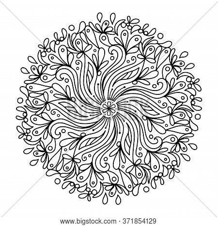 Monochrome Elegant Line Art Circular Pattern In Black And White. Circular Mathematical Ornament Colo