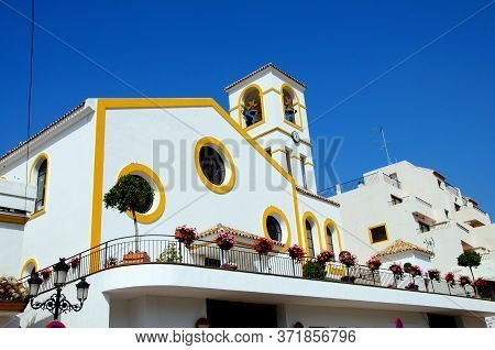 Church With Bell And Clock Tower To The Rear, Benahavis, Costa Del Sol, Malaga Province, Andalucia,