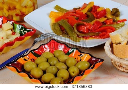 Tapas, Green Olives, Mixed Peppers, Manchego Cheese With Chillies In Olive Oil, Mijas Costa, Costa D
