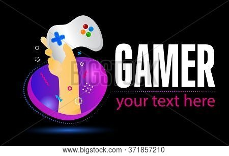 Gamepad Logo. Electronic Sports, E-sports, Or Esports Concept. Hand Holding Game Controller On Creat
