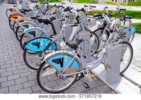 Bordeaux , Aquitaine / France - 11 20 2019 : Bordeaux Town Bike Urban City Self-service Bicycle