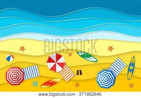 Sea Landscape With Beach, Waves, Flipflops Shoe. Paper Cut Out Digital Craft Style. Abstract Blue Se