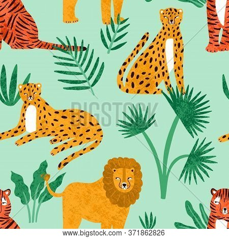 Funny Feline With Tropical Plants Seamless Pattern. Cute Hand Drawn Predators Lions, Tigers And Leop