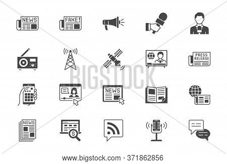 News Flat Icons. Vector Illustration Included Icon As Newspaper, Mass Media, Journalist, Fake, Telev