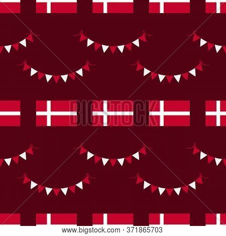 Denmark Flags And Garlands Vector Seamless Pattern Background For Flag Day And Other Danish National