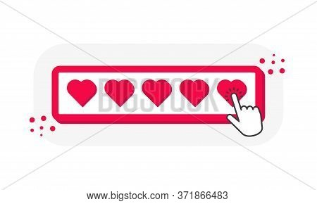 Five Heart 3d Icons Ratings, 5 Heart Shape With Finger Pointer Isolated On White Background. Vector