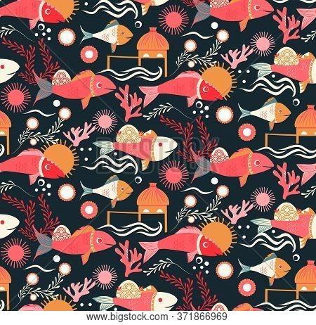 Cambodia Pattern Flat Color Seamless Design Illustration