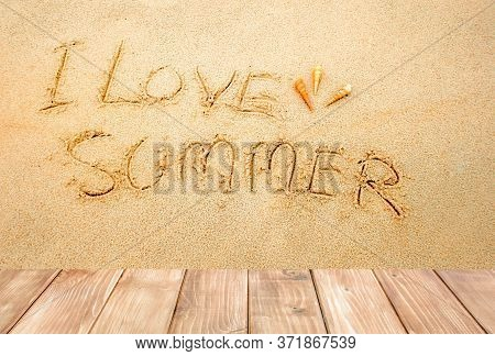 The Word I Love Summer In The Sand With Copy Space