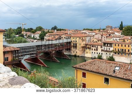 Bassano Del Grappa, Italy  - September 6, 2019: The Wooden Covered Bridge, Or Ponte Degli Alpini, On