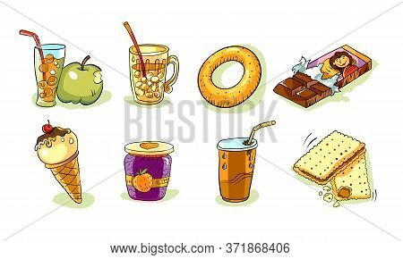 Set Of Images On White Background, Cute Colorful Icons, Fun Cartoon Icons Design Vector