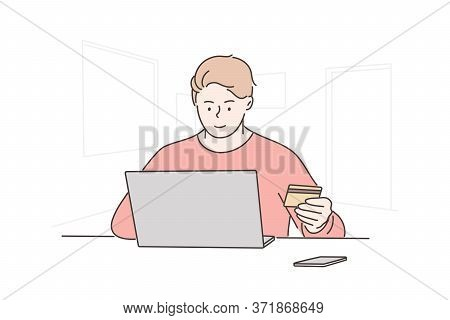Online Payment, Shopping, Technology, Business Concept. Young Happy Man Boy Freelancer Cartoon Chara