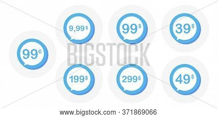 Sale 9.99 99 49 99 199 And 299 Dollars And Cent. Button Design In Flat Style On White Background. Ve