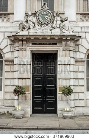 London, Uk - March 25, 2012:  Entrance To The Old Offices Once Used By The Inland Revenue Tax Offici