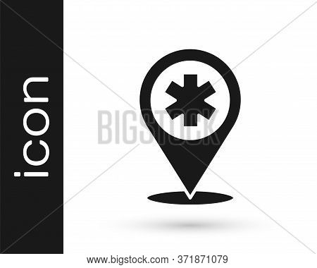 Grey Medical Map Pointer With Cross Hospital Icon Isolated On White Background. Vector