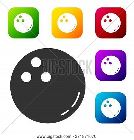 Black Bowling Ball Icon Isolated On White Background. Sport Equipment. Set Icons In Color Square But