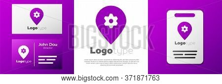 Logotype Location With Car Service Icon Isolated On White Background. Auto Mechanic Service. Repair