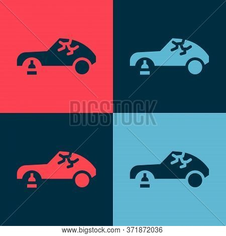 Pop Art Broken Car Icon Isolated On Color Background. Car Crush. Vector