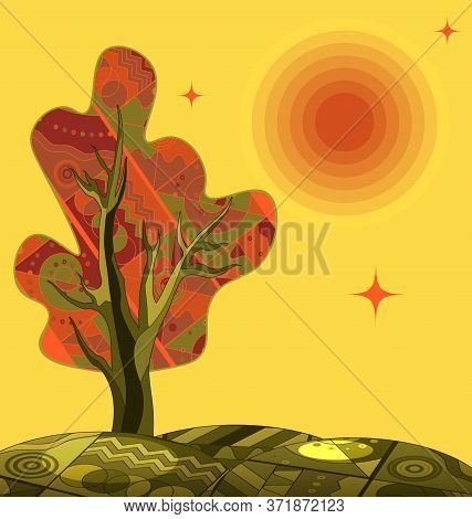 Yellow Color Background Image Of The Abstract Lonely Tree