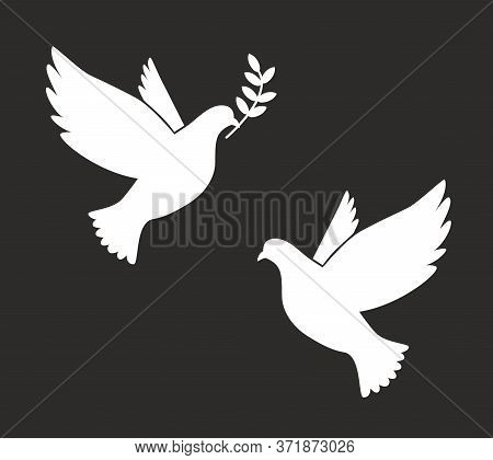 Black Silhouette Of Flying Dove With Olive Twig Vector Icon Template