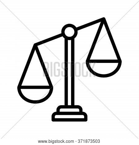 Libra Line Icon. Weigher For Justice And Arbitrate Or Libra Outline Logo Vector. Editable Stroke.