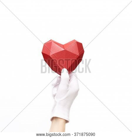 Hand Holding Red Heart On White Background. Healht Care, Love Concept. Image For World Health Day, W