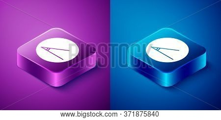 Isometric Acute Angle Of 45 Degrees Icon Isolated On Blue And Purple Background. Square Button. Vect