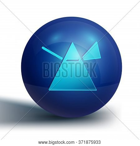 Blue Light Rays In Prism Icon Isolated On White Background. Ray Rainbow Spectrum Dispersion Optical