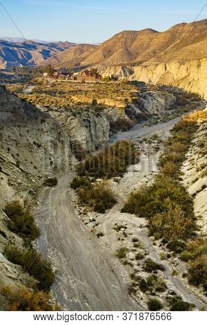 Tabernas Desert View With Western Leone Town, Spain