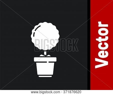 White Plant In Pot Icon Isolated On Black Background. Plant Growing In A Pot. Potted Plant Sign. Vec