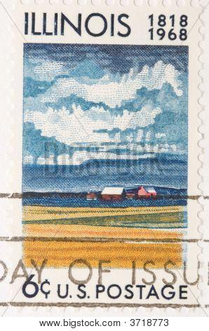 Vintage 1968 Stamp Illinois Anniversary
