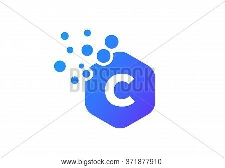 Letter C Hexagon Bubbles Vector. C Letter Logo Design Vector With Dots And Colorful Hexagon.