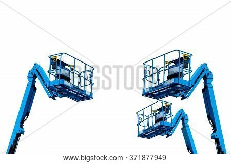 Articulated Boom Lift. Aerial Platform Lift. Telescopic Boom Lift Isolated On White. Mobile Construc