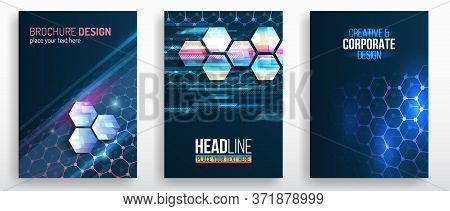 Vector Technology Templates For Cover Or Brochure, Flyer. Аbstract Futuristic Background With Hexago