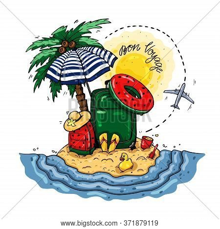 Vacation On An Island In The Ocean. Bon Voyage Vector Illustration On An Isolated Background.