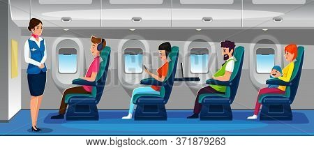 Modern Airplane Salon With Happy Passengers Vector Illustration. Private Plane Flight Flat Style. Pe