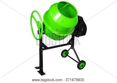 Green Portable Concrete Mixer Isolated On White Background. Construction Tool Cement Mixer With Elec