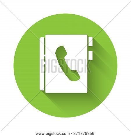 White Address Book Icon Isolated With Long Shadow. Notebook, Address, Contact, Directory, Phone, Tel