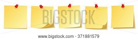 Realistic Blank Sticky Notes Isolated On White Background. Yellow Sheets Of Note Papers With Push Pi
