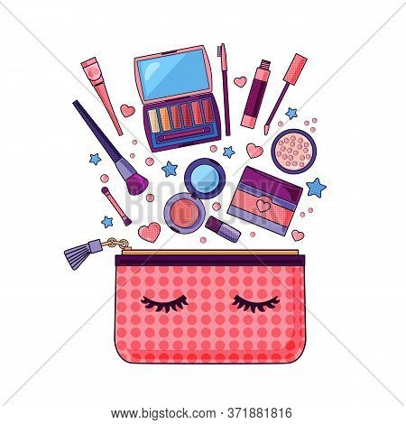 Flat Icon Of Cosmetics Product. Vector Design Of Make Up Procedure. Make Up. Make Up Vector Details.