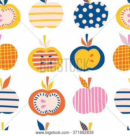 Apples Seamless Vector Pattern. Cute Abstract Apple Illustration Background. Fruits In Blue, Pink, O