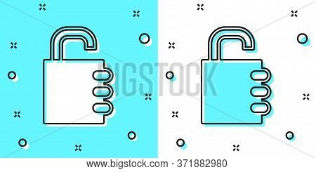 Black Line Safe Combination Lock Icon Isolated On Green And White Background. Combination Padlock. S