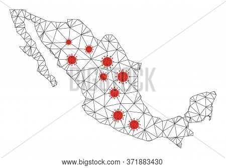 Polygonal Mesh Mexico Map With Coronavirus Centers. Abstract Net Lines, Triangles And Flu Viruses Fo