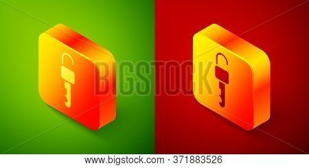 Isometric Unlocked Key Icon Isolated On Green And Red Background. Square Button. Vector