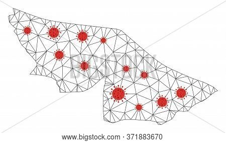 Polygonal Mesh Acre State Map With Coronavirus Centers. Abstract Mesh Lines, Triangles And Covid- 20