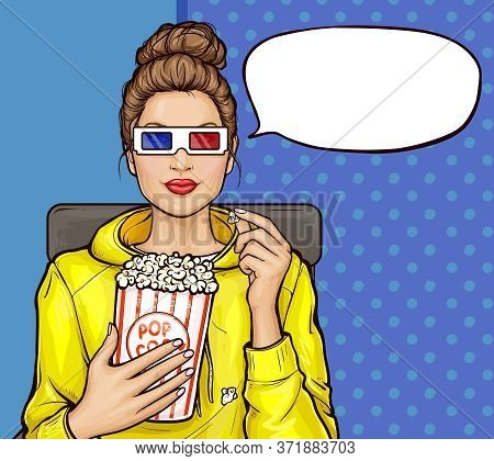 Vector Pop Art Illustration Of A Beautiful Brunette Woman Sitting In The Auditorium, Watching A 3d M