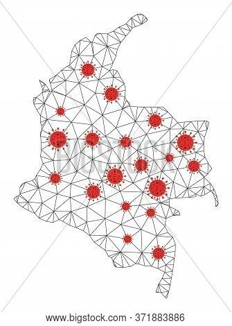 Polygonal Mesh Colombia Map With Coronavirus Centers. Abstract Mesh Lines, Triangles And Covid- 2019