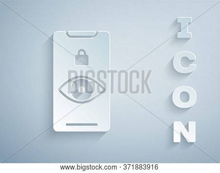 Paper Cut Eye Scan Icon Isolated On Grey Background. Scanning Eye. Security Check Symbol. Cyber Eye