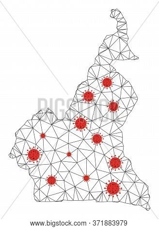 Polygonal Mesh African Cameroon Map With Coronavirus Centers. Abstract Network Lines, Triangles And