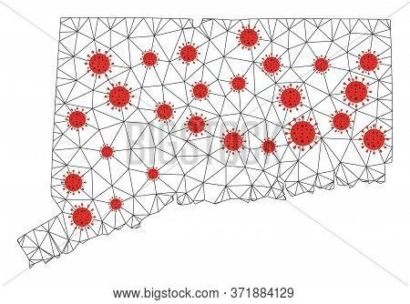 Polygonal Mesh Connecticut State Map With Coronavirus Centers. Abstract Network Lines, Triangles And
